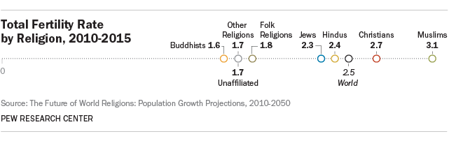 Total Fertility Rate by Religion